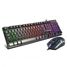 新品烽火狼KM-001 星际战神 七彩悬浮式发光键盘鼠标套装
